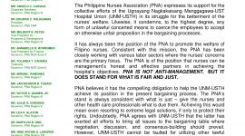 PNA Position of Support for UST Hospital Nurses and the UNM
