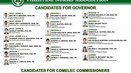 PNA CANDIDATES FOR GOVERNOR AND COMELEC COMMISSIONERS